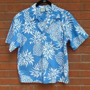 OP Mens Tropical Pineapple Print Button Down M
